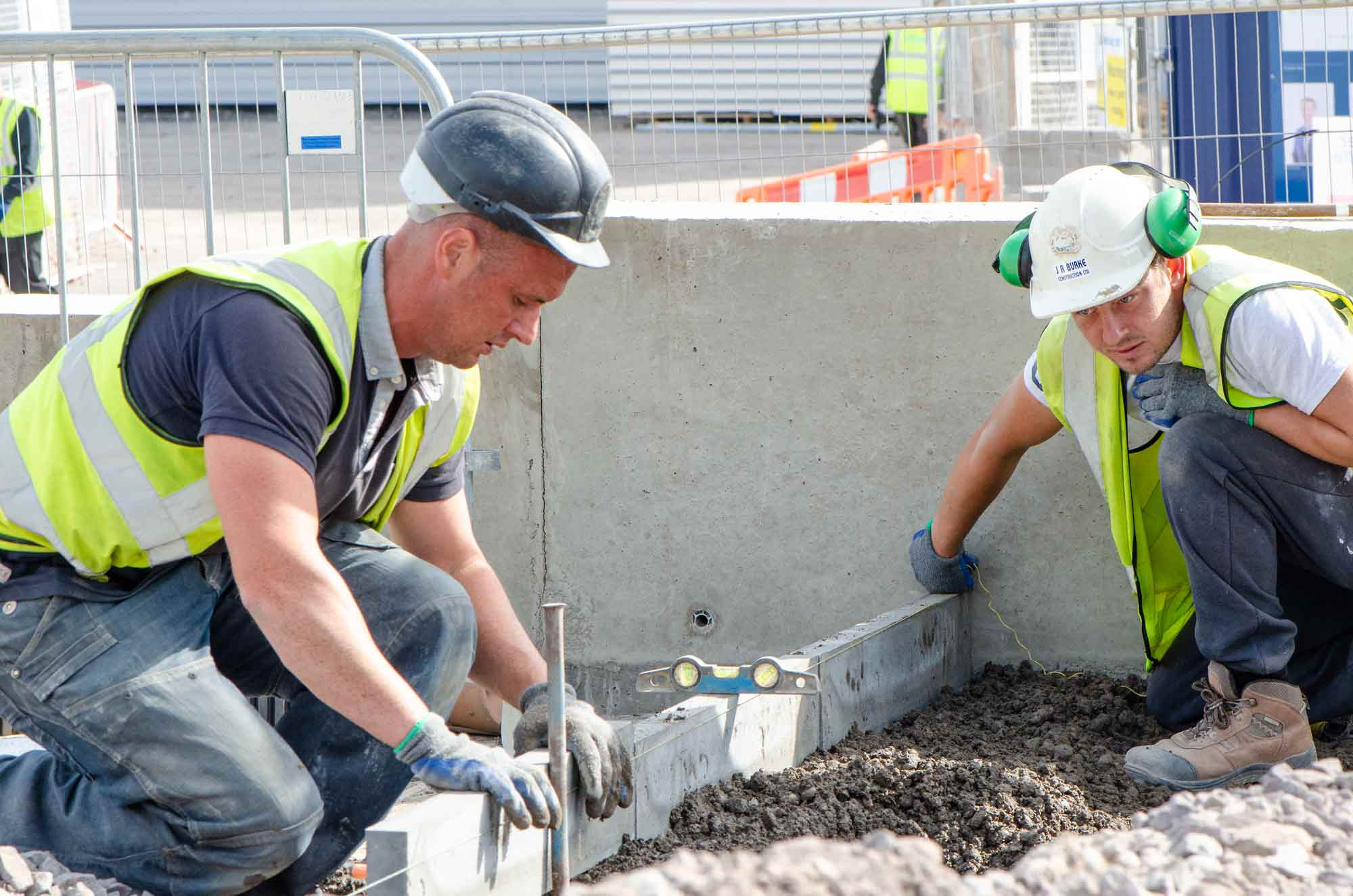 Setting curbing Wolverhampton - J A Burke Construction Limited -Midlands based ground works, civils and RC frame company.